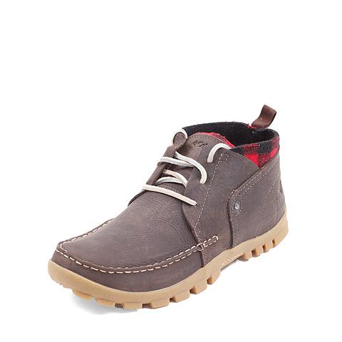 Columbia/哥伦比亚浅棕色男款高级粒面皮 超轻缓震 防污防泼水 户外休闲鞋DM1012 真皮鞋带