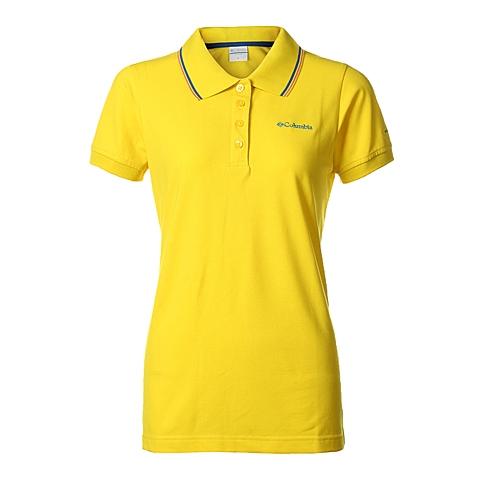 Columbia/哥伦比亚春夏女黄色户外运动速干防紫外线POLO短袖PL2944716
