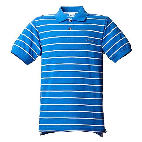 Columbia/哥伦比亚夏季男款蓝条纹短袖翻领T恤PM2020072
