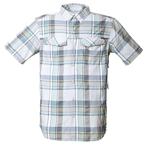 Columbia/哥伦比亚春季绿格男式短袖速干/防紫外线衬衫AM7429304