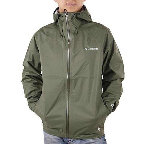 Columbia/哥伦比亚春季男款军绿色防水透气可打包2.5层冲锋衣PM2486