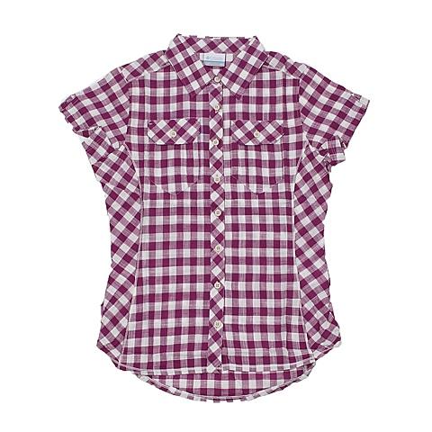 Columbia/哥伦比亚夏季女款紫色格棉质修身短袖衬衫AL7979519