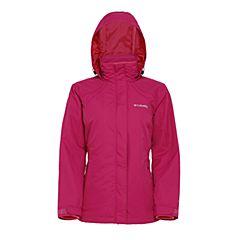 Columbia/哥伦比亚女玫红色抗污科技可调节风帽抓绒内胆修身版型三合一冲锋衣PL7026684