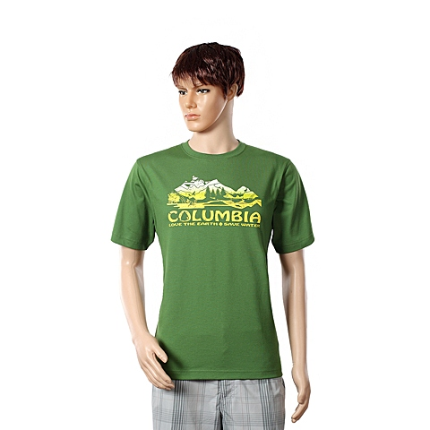 Columbia/哥伦比亚春夏男绿色野外探索短袖T恤LM6911350