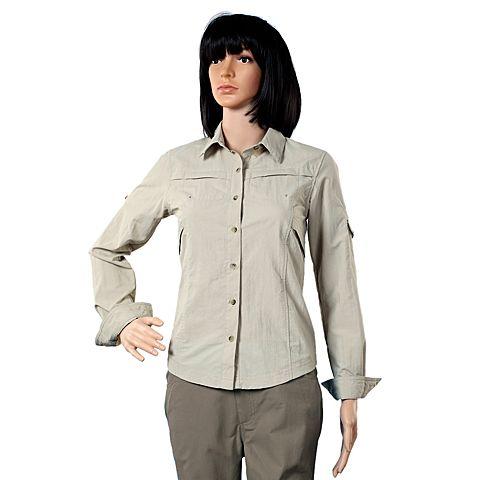 Columbia/哥伦比亚春夏女灰色野外探索100% 锦纶可翻卷袖子 长袖衬衫PL7234160