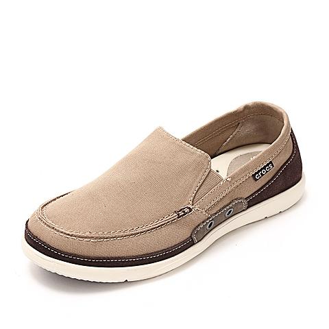 Crocs 卡骆驰 男子  专柜同款 风尚沃尔卢 卡其/深咖啡 满帮鞋帆船鞋休闲鞋 14392-23G