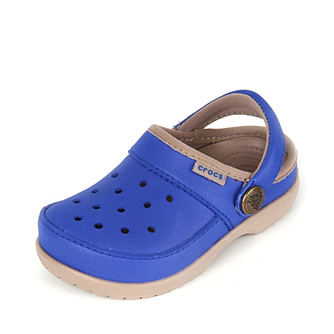 Crocs 卡骆驰 儿童 专柜同款 卡乐彩小克骆格 蔚蓝/草灰 洞洞鞋塑模鞋凉鞋沙滩鞋 200363-4FE