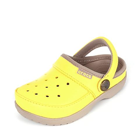Crocs 卡骆驰 儿童  专柜同款 卡乐彩小克骆格 阳光黄/草灰 洞洞鞋塑模鞋凉鞋沙滩鞋 200363-7D1