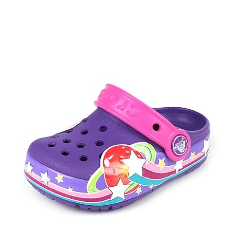 Crocs卡骆驰 儿童  专柜同款 酷闪星球小克骆格 霓虹紫  洞洞鞋 凉鞋 沙滩鞋 201401-518