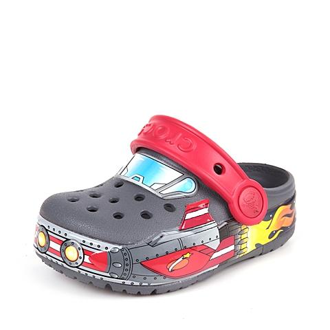 Crocs卡骆驰 儿童  专柜同款 酷闪火箭小克骆格 炭灰  洞洞鞋 凉鞋 沙滩鞋 201403-025