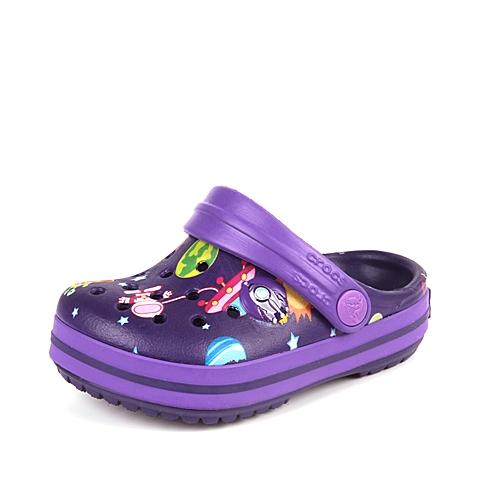 Crocs卡骆驰 儿童  专柜同款 奇幻太空小卡骆班 正紫/霓虹紫  洞洞鞋 凉鞋 沙滩鞋 202271-5H1