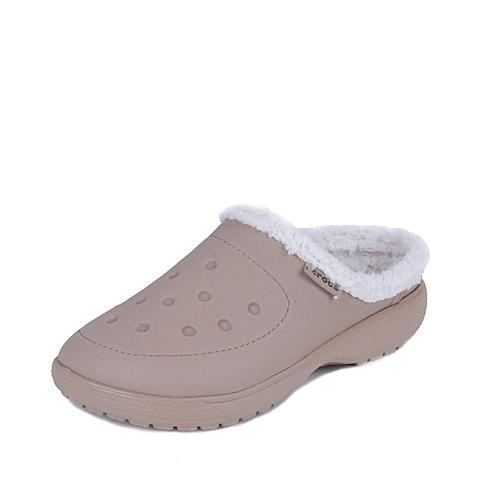 Crocs 卡骆驰 中性 专柜同款 卡乐彩暖棉克骆格 草灰/麦片色 厚底 棉拖鞋 16195-2M5