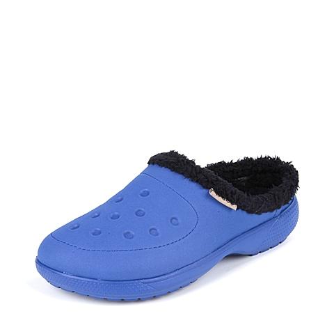 Crocs 卡骆驰 中性 专柜同款 卡乐彩暖棉克骆格 蔚蓝/黑 厚底 棉拖鞋 16195-4Q3
