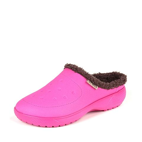 Crocs 卡骆驰 中性 专柜同款 卡乐彩暖棉克骆格 糖果粉/红褐 厚底 棉拖鞋 16195-6FA