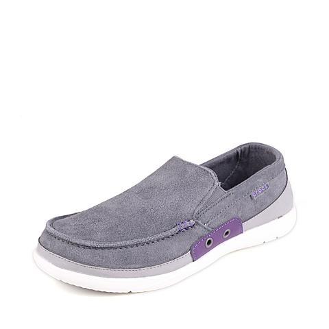 Crocs 卡骆驰 男子 专柜同款 男士风尚沃尔卢麂皮便鞋炭灰/正紫 满帮鞋帆船鞋休闲鞋 14757-0W5