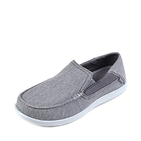 Crocs卡骆驰 男子 春夏专柜同款 圣克鲁兹帆布便鞋二代炭灰/浅灰 旅行 便鞋 休闲鞋202056-01W