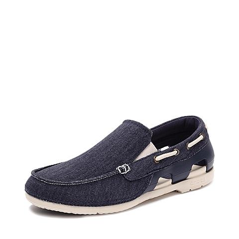 Crocs卡骆驰 男子 2016春夏专柜同款 男士海滩帆布便鞋深蓝/水泥灰 旅行 便鞋 休闲鞋202774-46K