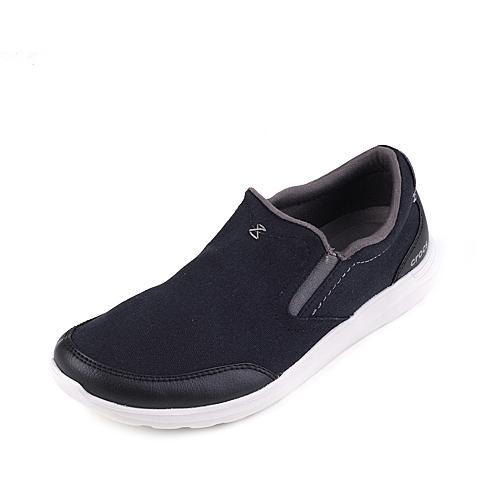 Crocs卡骆驰 男子 2016春夏专柜同款 塞尔王帆布便鞋黑色/珍珠白 旅行 便鞋 休闲鞋203051-069