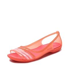 Crocs卡骆驰 女子 春夏 专柜同款 女士伊莎贝拉平底凉鞋 珊瑚红  沙滩 旅行 戏水 凉鞋202463-689
