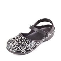 Crocs卡骆驰 女子 春夏 专柜同款 女士卡琳豹纹克骆格 深咖啡色 沙滩 旅行 戏水 凉鞋203121-206