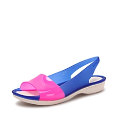 Crocs 卡骆驰 女子 专柜同款  色彩布骆格亮透平底鞋 蔚蓝/水泥灰  花园鞋沙滩鞋凉鞋  200032-4BK