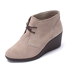 crocs卡骆驰 女子 年秋冬 专柜同款 蕾丽系带坡跟靴 棕褐色 休闲鞋旅游 203419-265