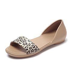Crocs 卡骆驰春夏季 专柜同款 豹纹女子莉娜花纹奥赛鞋洞洞鞋 休闲鞋204362-90L
