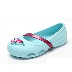 Crocs 卡骆驰 2017年春夏季 专柜同款 冰蓝女童莉娜小平底鞋洞洞鞋 休闲鞋204028-4O9