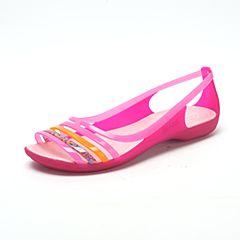 CROCS 卡骆驰 2017年春夏季 新款伊莎贝拉平底凉鞋花瓣粉/珊瑚红202463-6EA