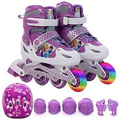 迪士尼硬壳溜冰鞋儿童全套装可调闪光直排轮滑鞋旱冰鞋滑冰鞋