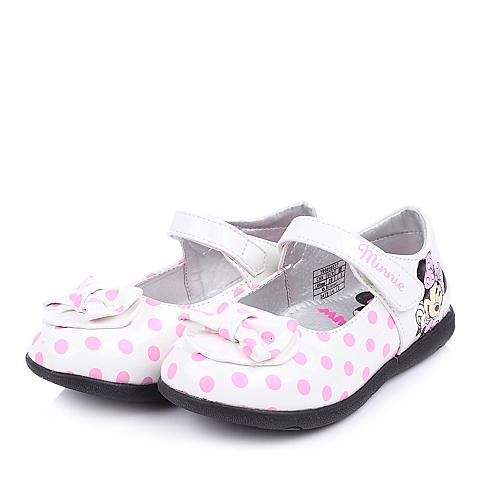 DISNEY/迪士尼童鞋2015春季新款PU白色女小童皮鞋DS0537