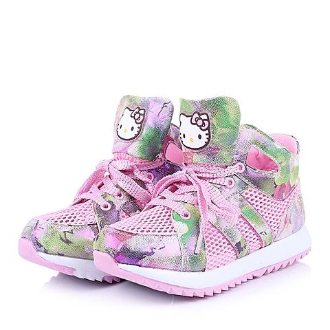 HELLO KITTY/凯蒂猫童鞋2015春季新款PU/织物粉色女中童跑步鞋DI3307