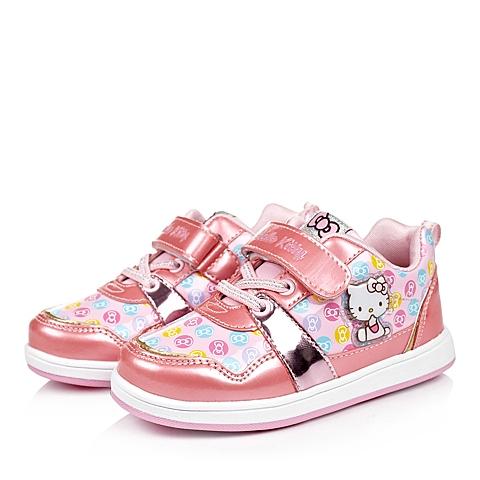 HELLO KITTY/凯蒂猫童鞋秋季新品粉色PU女小童板鞋DI3430
