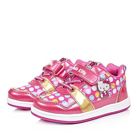 HELLO KITTY/凯蒂猫童鞋秋季新品桃红PU女小童板鞋DI3430