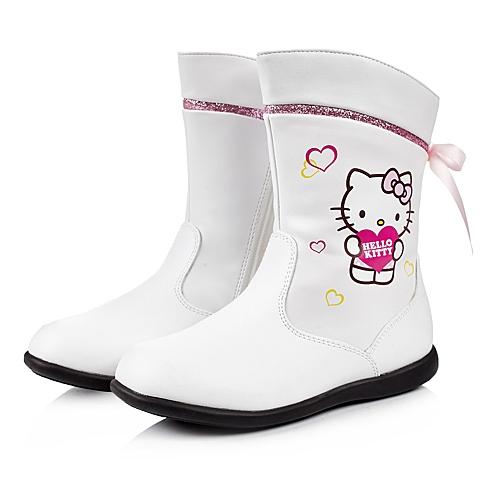 HELLO KITTY/凯蒂猫冬季白色PU女小中童中靴DI3528