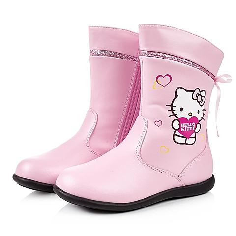 HELLO KITTY/凯蒂猫冬季粉色PU女小中童中靴DI3528