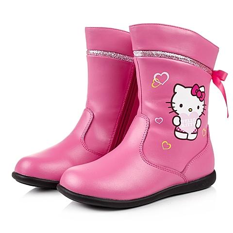 HELLO KITTY/凯蒂猫冬季桃红PU女小中童中靴DI3528