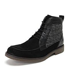 Hush Puppies/暇步士秋季专柜同款黑色镶色男休闲鞋H1N41CD3