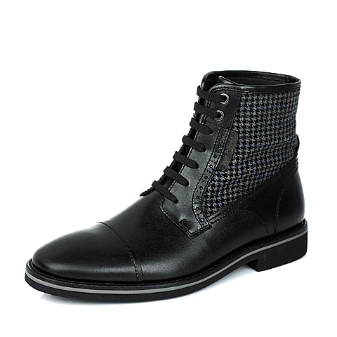 Hush Puppies/暇步士黑色牛皮/格子织物男休闲鞋日常休闲K3215DD3