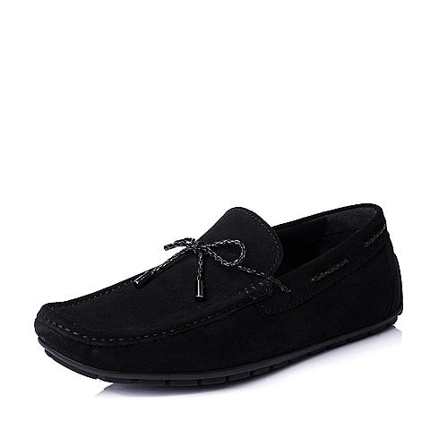 Hush Puppies/暇步士秋季专柜同款黑色绒牛皮男皮鞋K4208CM4