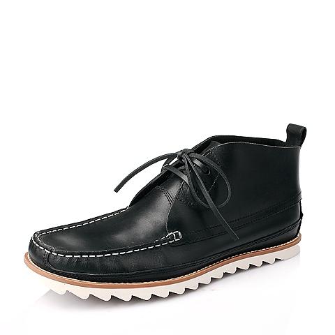 Hush Puppies/暇步士专柜同款黑色牛皮男靴W4214DD4