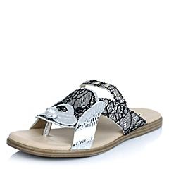 Hush Puppies/暇步士夏季专柜同款黑白色花纹猪皮/银色贴膜羊皮女皮凉鞋日常休闲HGV02BT4