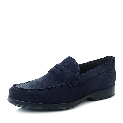 Hush Puppies/暇步士专柜同款蓝色绒牛皮男皮鞋日常休闲K4214CM4