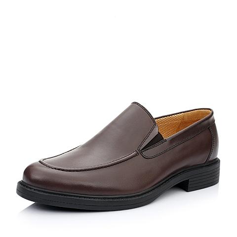 Hush Puppies/暇步士春季专柜同款咖啡色光面牛皮男皮鞋K1C01AM5
