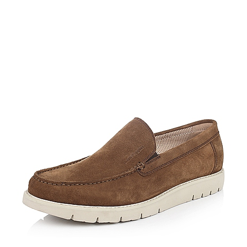 Hush Puppies/暇步士年春季专柜同款棕色二层牛皮休闲男单鞋K1P02AM5