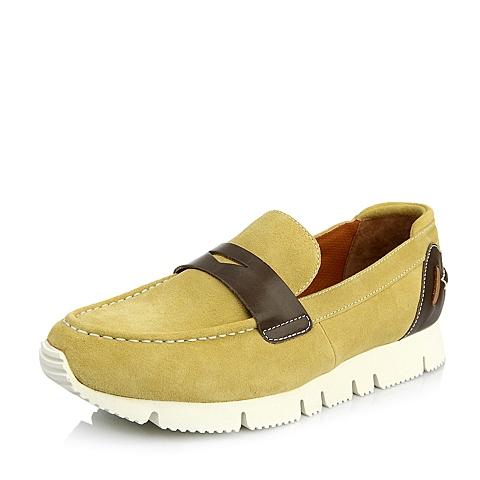 Hush Puppies/暇步士年春季专柜同款浅黄色牛皮时尚休闲男单鞋H3S21AM5