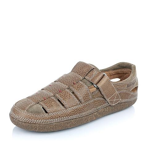 Hush Puppies/暇步士年夏季专柜同款灰色油蜡变色牛皮男凉鞋H3P01BK5