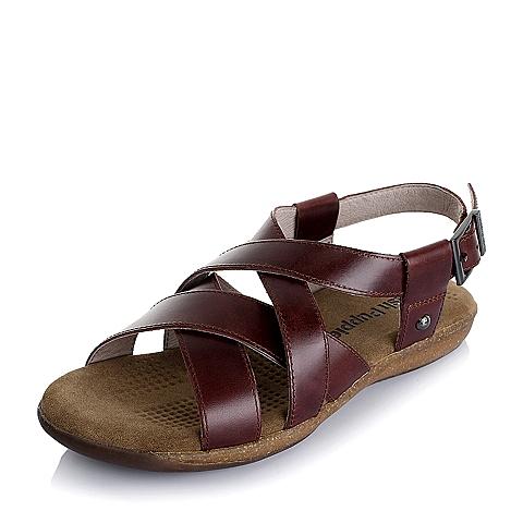 Hush Puppies/暇步士夏季专柜同款啡红色油蜡变色牛皮男凉鞋H1V11BL5