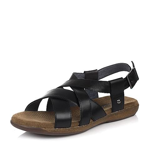 Hush Puppies/暇步士夏季专柜同款黑色油蜡变色牛皮男凉鞋H1V11BL5
