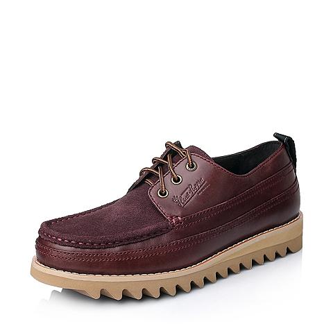 Hush Puppies/暇步士秋季专柜同款啡红/紫红色牛皮男休闲鞋H4I20CM5